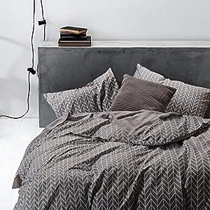 Gray Duvet Cover Set, 100% Cotton Bedding with Zipper Closure, Chevron Zig Zag Geometric Modern Pattern Printed on Grey (3pcs, Full Size)