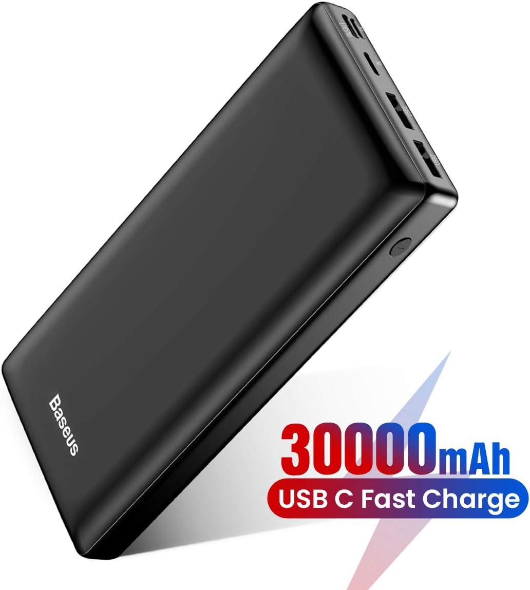 Baseus Batería Externa 30000mAh,Power Bank Bateria Portatil Movil USB C Carga rapida para iPhone 11 Pro MAX, iPad, Mac, Samsung, Huawei, Xiaomi, Nintendo Switch Nergo