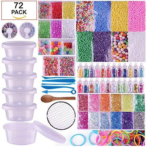 VIVOE Slime Supplies Kit - 72 Packs Slime Beads Charms Include Foam Balls, Fishbowl Beads, Glitter, Fruit Slices, Pearls, Slime Mylar Flake, Slime Containers for Arts Crafts Orna(72 pack Supplies Kit) - Glitter Disc