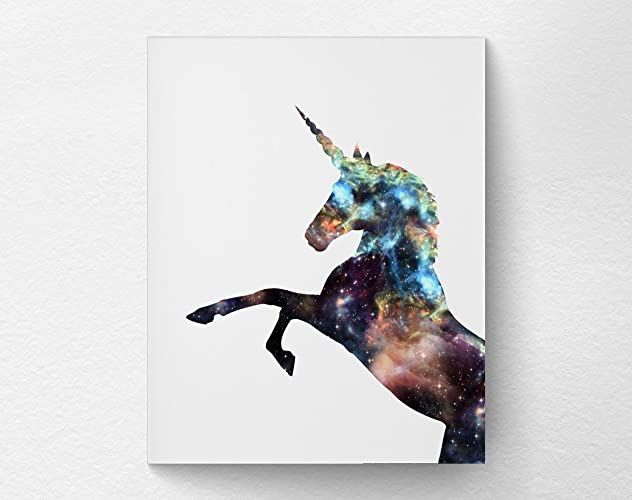 Cosmic Unicorn Silhouette Wall Art Print Poster Decor, Unicorn Nursery  Decor, Dorm Decor, 8x10 Print