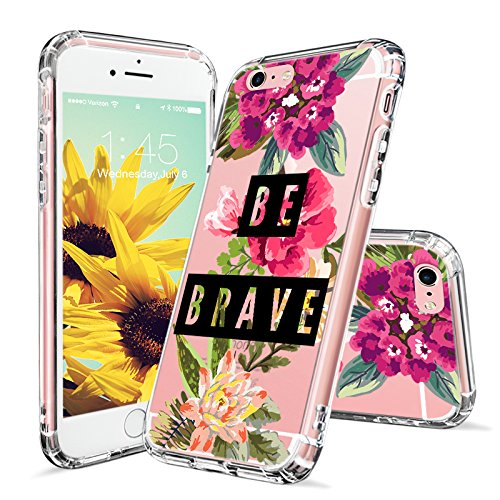 save off a55fa ff5b3 MOSNOVO iPhone 6S Plus Case/iPhone 6 Plus Clear Case, Floral Flower with Be  Brave Quote Clear Design Transparent Hard Case and TPU Bumper Protective ...