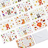 56 Thank You Sleek & Minimalist Postcards - 7 Cute Animal Designs on 4x6' Thank You Notes, Matching Box & 58 Envelopes, Perfect for Your Baby Shower or Kid's Birthday Party!
