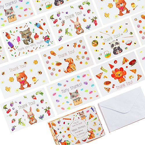 56 Unique Thank You Postcards - 7 Cute Animal Designs on 4x6