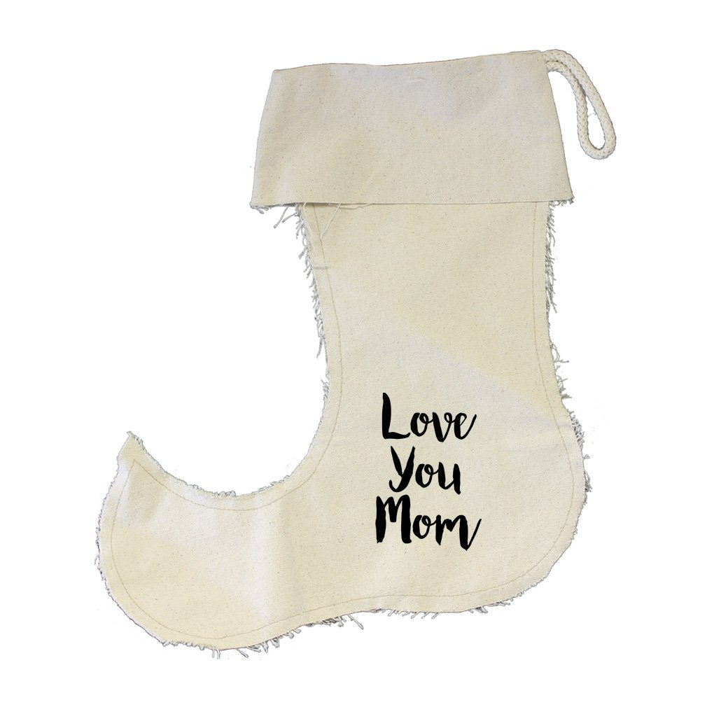Love You Mom Cursive Cotton Canvas Stocking Jester Jester Stocking - Small
