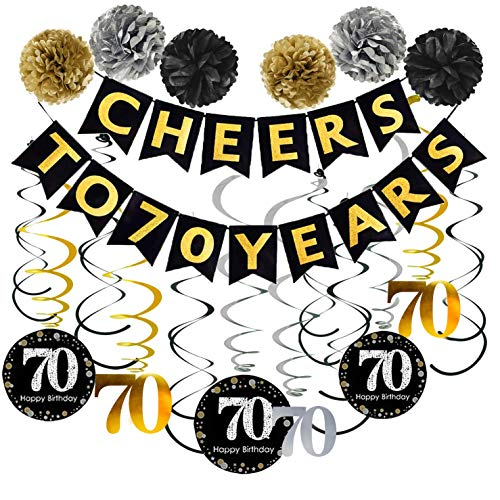 70th Birthday Party Decorations Pack - Cheers to 70 Years Banner,Poms, Sparkling Celebration 70 Hanging Swirls for 70 Years Old Party Supplies 70th Anniversary Decorations -
