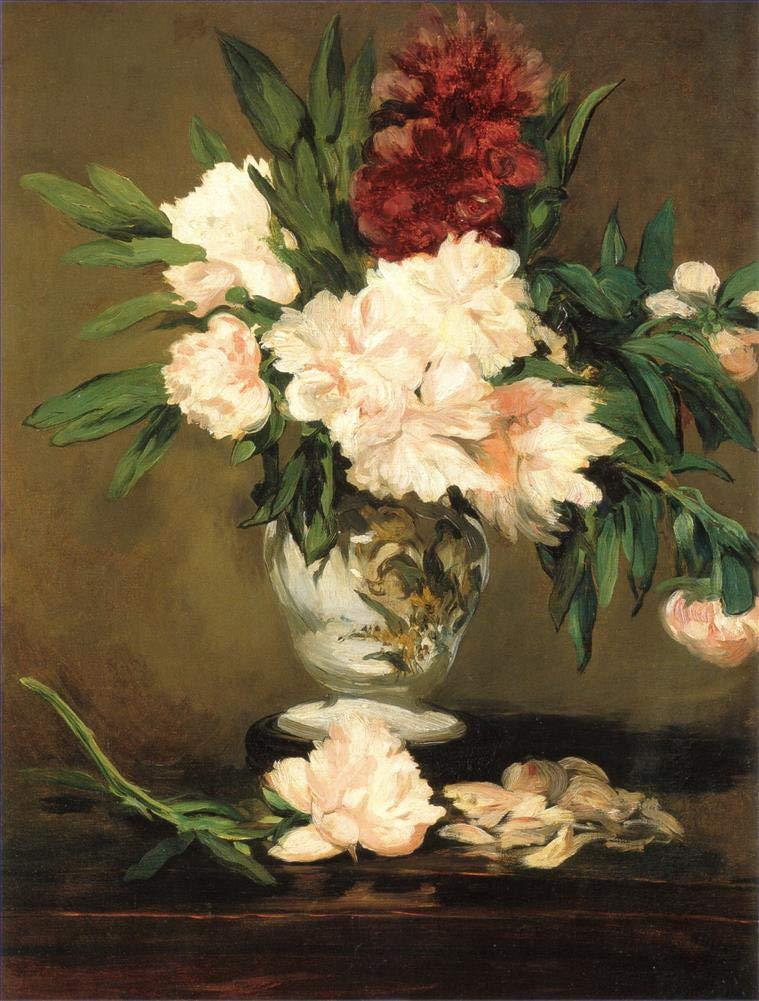 手描き-キャンバスの油絵 - Peonies in a vase Eduard Manet 芸術 作品 洋画 ウォールアートデコレーション -サイズ11 B07HLKQQNR  36 x 48 インチ