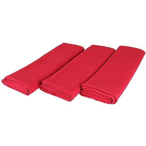 Paños de algodón 100% Lote de 3 Suela de pique en color rojo. 50