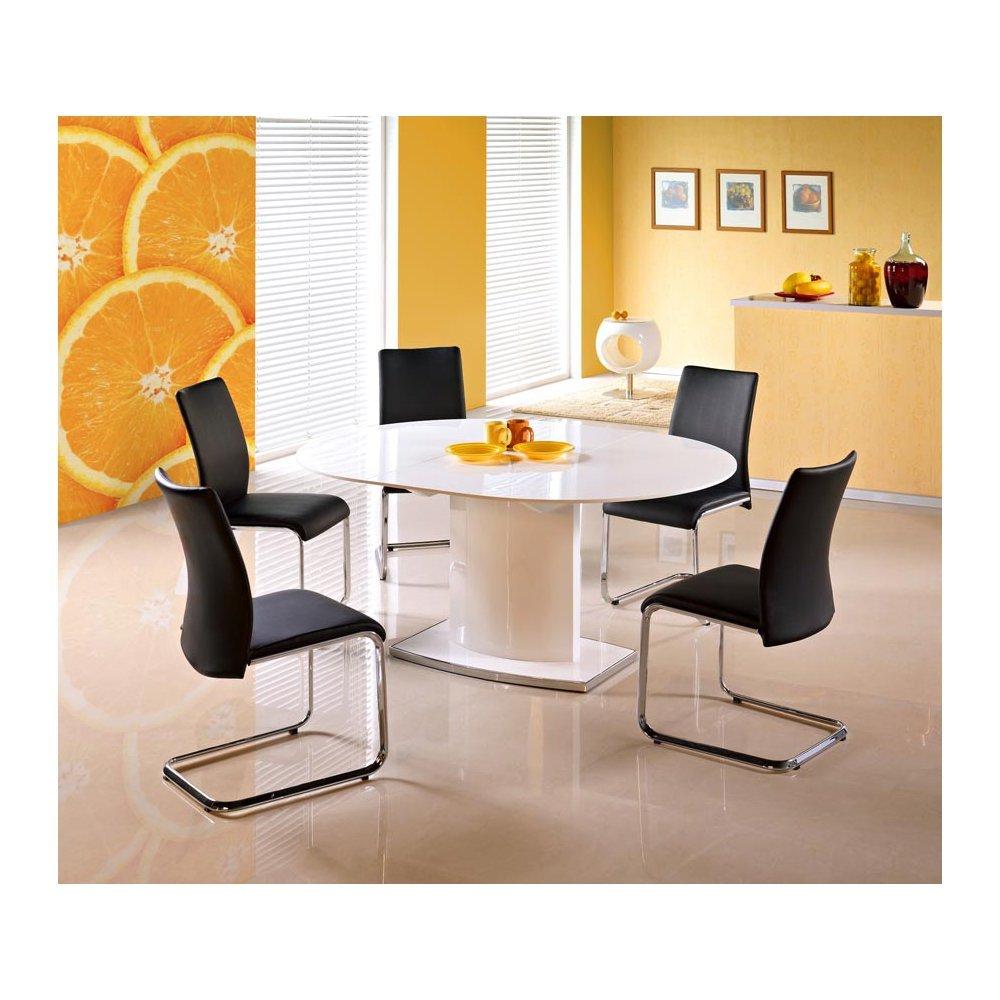 JUSThome Sitzgruppe Essgruppe Esszimmertisch Federico Weiß Hochglanz + 5 Stühle Emilio