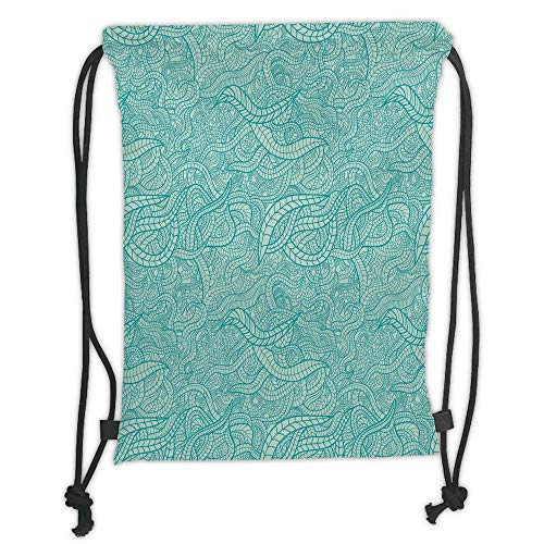 - Custom Printed Drawstring Sack Backpacks Bags,Aqua,Vintage Botanic Nature Leaves Veins Swirls Ivy Mosaic Inspired Image Print Decorative,Turquoise and White Soft Satin,5 Liter Capacity,Adjustable Stri