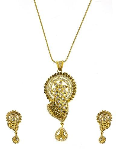 39561e10e08d83 Image Unavailable. Image not available for. Color: Anuradha Art Golden Tone  Simple Styllish Designer American Diamond Pendant Set ...