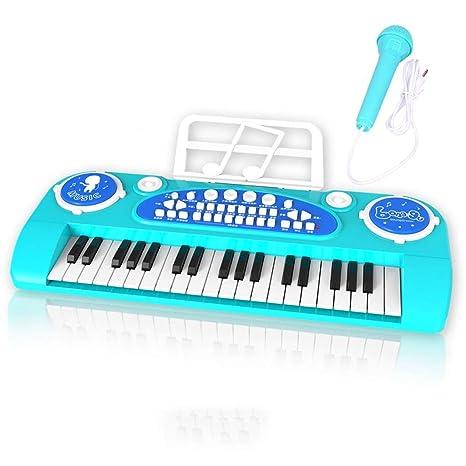 Puzzle de Piano Teclado Electrónico Básico de 37 Teclas para Niños con Micrófono Tambor Manual Se