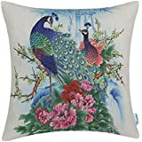 CaliTime Canvas Throw Pillow Cover Shell for Couch Sofa Home Decoration Couple Peacocks with Floral Bamboo Painting Print 18 X 18 Inches