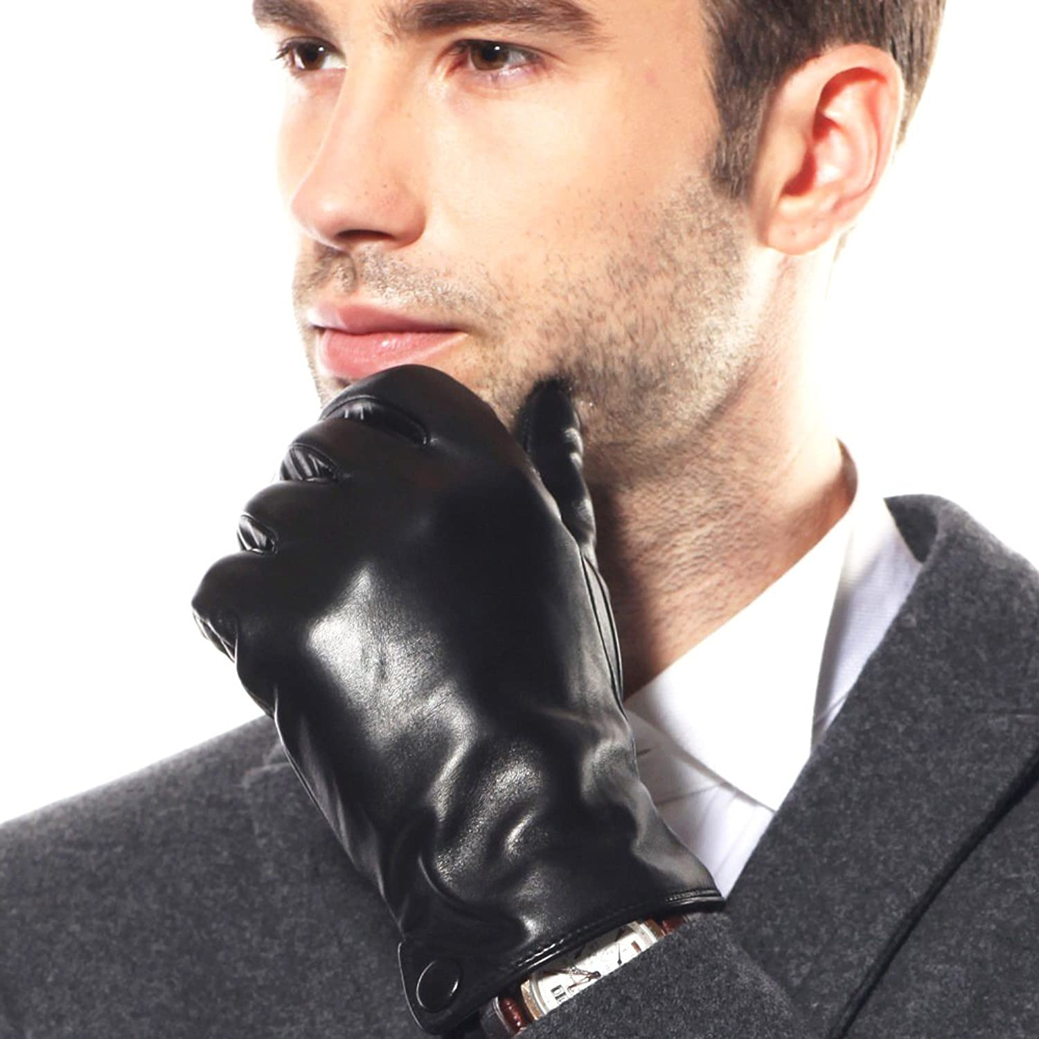 Mens leather gloves for iphone - Warmen Classic Men S Nappa Leather Driving Lined Winter Warm Gloves Plain Style