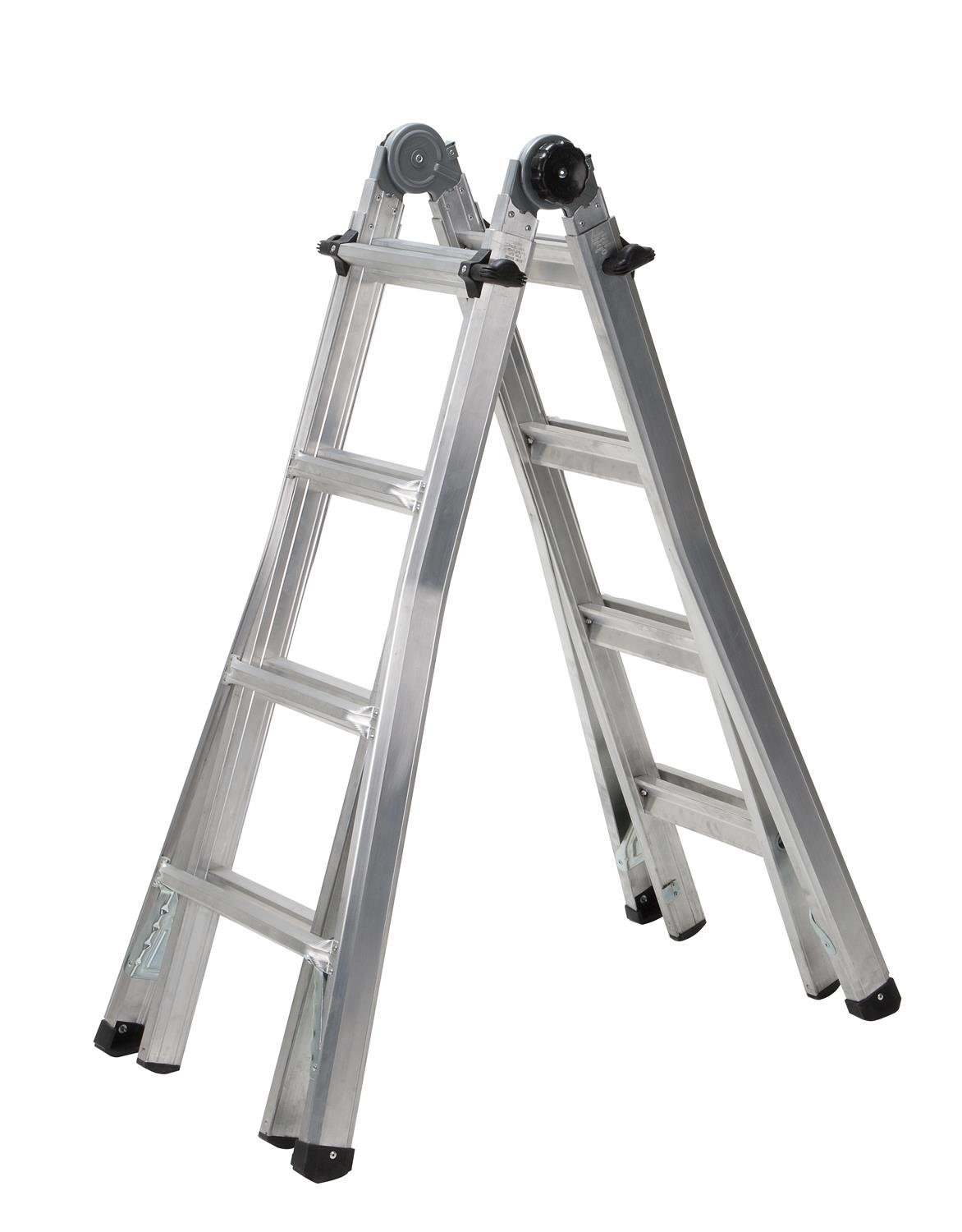 Cosco 18 ft. Reach Aluminum Telescoping Multi-Position Ladder with 300 lb. Load Capacity Type IA Duty Rating