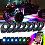 Xprite 3rd-Gen 8 Pods RGB LED Rock Lights, Multicolor Neon LED Light Kit with Bluetooth Controller for Jeep, Off-Road, 4X4, Truck, ATV / SUV, Boat,Timing, Music Mode, Flashing