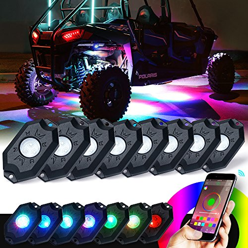 Xprite 3rd-Gen 8 Pods RGB LED Rock Lights with Bluetooth Controller Remote Multicolor Neon LED Light Kit for Timing, Music Mode, Flashing