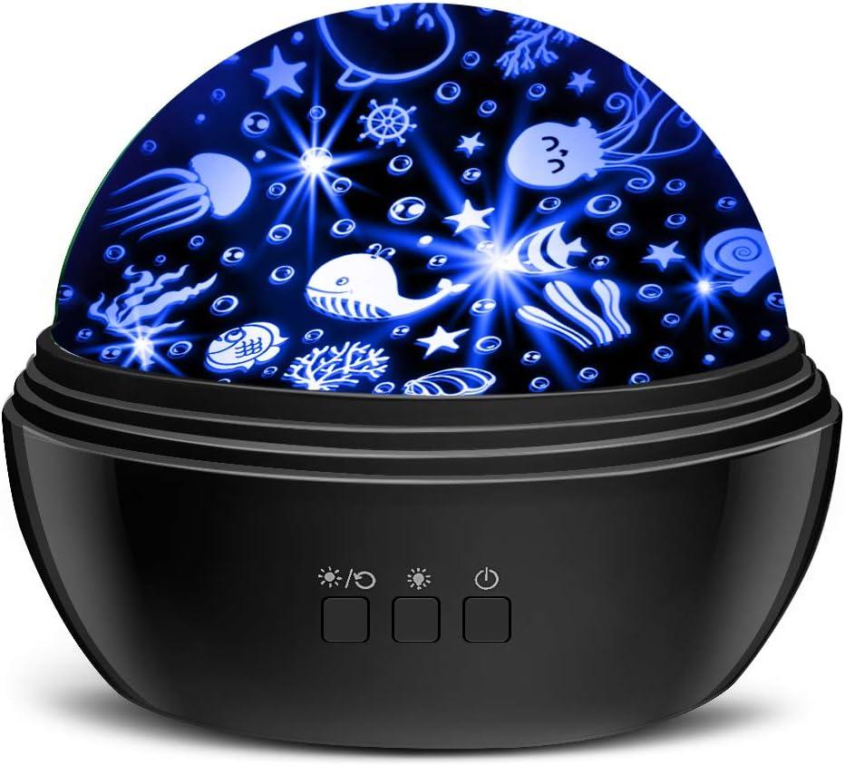 Star Projector Night Lights for Kids, MOKOQI Novelty Moon Star/Sea Animal 2-in-1 Design Night Lighting Lamp, Multi-Color Star Light Rotating Projector for Bedroom Boys Girls Special Gifts (Black)