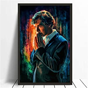 XuFan Sherlock Holmes Art Poster Benedict Cumberbatch Poster Painting Art Poster Print Canvas Home Decor Picture Wall Print/50X75cm-No Frame