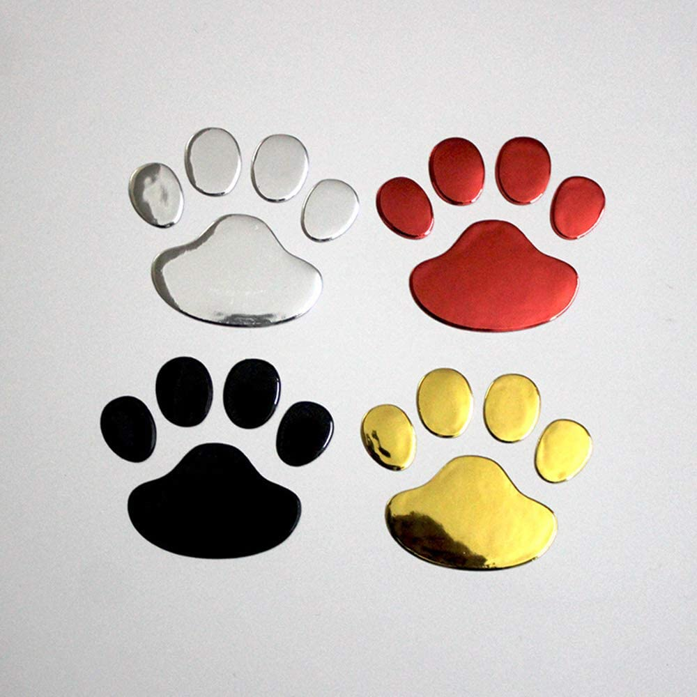 Aofocy 1 Paire de Stickers de Voiture Autocollant de Voiture d/écoration Empreinte de Patte de Chien Argent