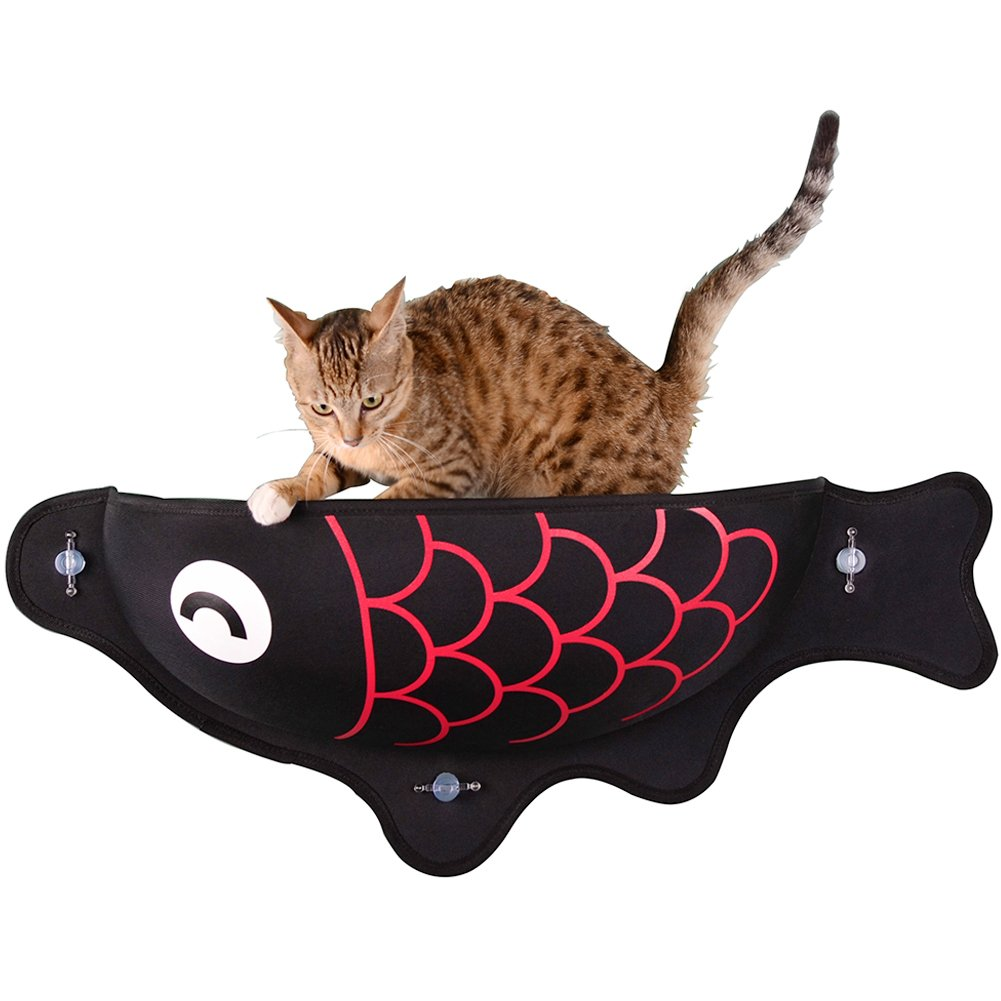 Creation Core Window-Mounted Suction Cup Cat Bed Perch Hammock For Cat Resting Sunbath(Carp)