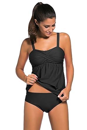 69bf80f7682c7 Aleumdr Women s 2pcs Swing Tankini Triangle Briefs Swimsuit Black Small