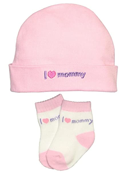 Amazon.com  I Love Mommy Newborn Baby Hat and Socks Set by Goldbug - Pink -  0-6 Mths  Clothing f4d170d51fb