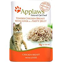 Applaws Chicken and Liver Cat Jelly Pouch, 70g Pouches (Pack of 16)