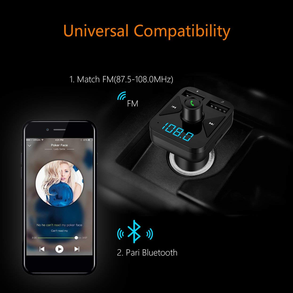 BT16 3.4A USB Charger Car Kit FM Transmitter Modulator Audio Music Car Mp3 Player Phone Wireless Handsfree Carkit Black