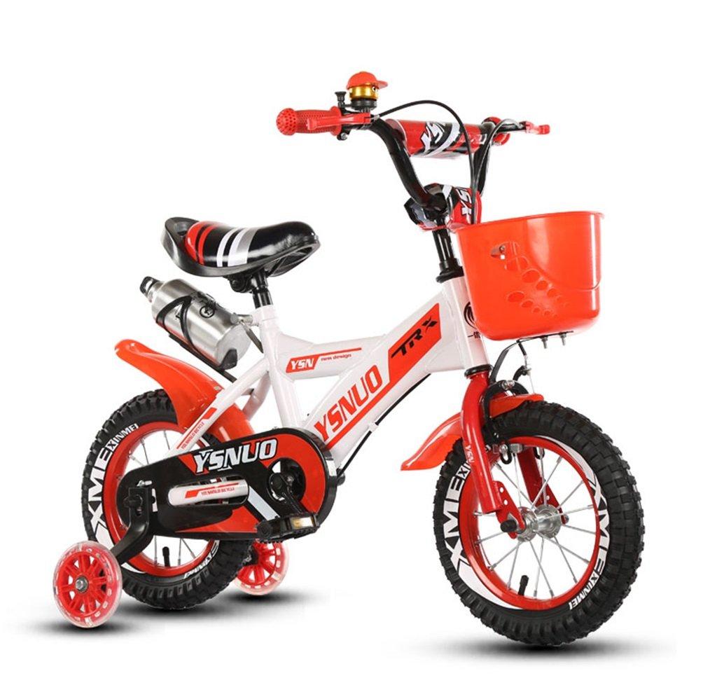 子供の自転車12|14|16|18インチアウトドアの子供ベイビーキッドマウンテンバイクフラッシュトレーニングホイールで2歳から10歳の男の子の女の子の贈り物|ウォーターボトル|プラスチックバスケット安全負荷50KG 14 inches 赤 B078B4KJC8