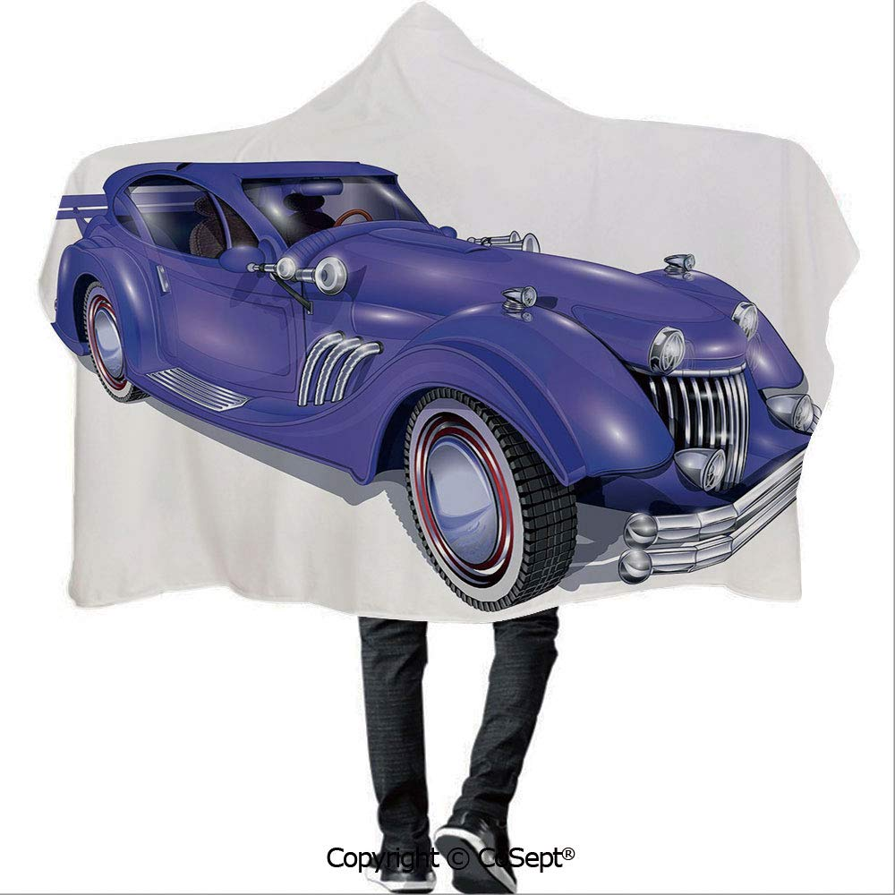 AmaUncle Polyester Hooded Blankets,Custom Vehicle with Aerodynamic Design for High Speeds Cool Wheels Hood Spoilers Decorative,Unisex All Ages One Size Fits All(59.05x78.74 inch),Violet Blue