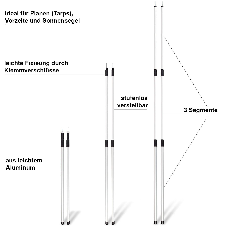 noorsk Lot de 2/m/âts de Manches t/élescopiques en Aluminium