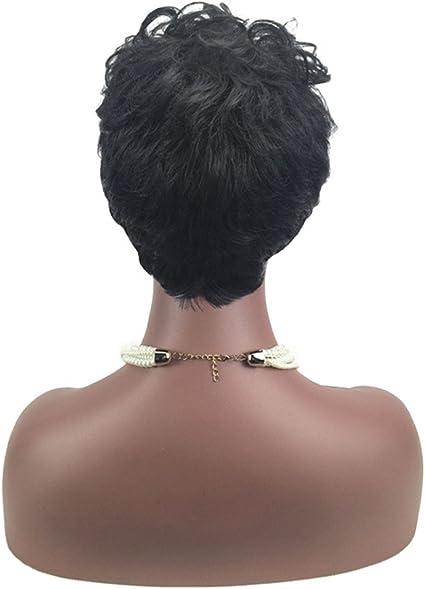 Fotbimk peluca morena, mujeres corto negro frente rizado ...