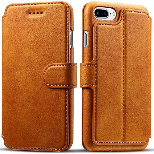 iPhone 8 Plus Case, iPhone 7 Plus Case, Pasonomi iPhone 7 Plus Leather Wallet Case - [Slim Fit] Vintage Flip Case Cover with Stand Function & Credit Card Slots for iPhone 8 Plus & 7 Plus (Light Brown)
