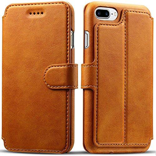 iPhone 8 Plus Case, iPhone 7 Plus Case, Pasonomi iPhone 7 Plus Leather Wallet Case - [Slim Fit] Vintage Flip Case Cover with Stand Function & Credit Card Slots for iPhone 8 Plus & 7 Plus (Light Brown) by PASONOMI