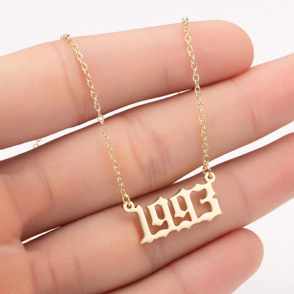 top0dream Womens Necklaces Pendants Fine Workmanship Birth Year Number Charm Pendant Stainless Steel Chain Necklace Party Gift Anniversary Presents for Her Silver 1980