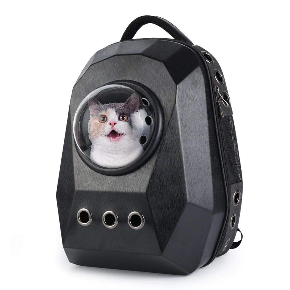 Black BTLIFE Pet Space Capsule Carrier Backpack,Travel Handbag Space Capsule Design for Cats Dogs &Small Animals, Hiking, Walking & Outdo