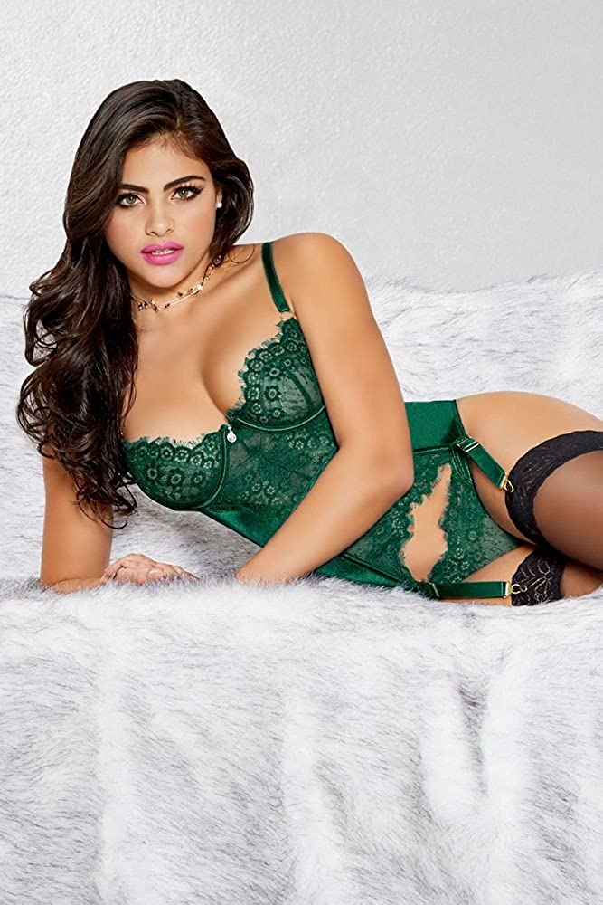 a1e59168a 7 til Midnight Emerald Green Lace Bustier Lingerie Set (Green)   Amazon.co.uk  Health   Personal Care