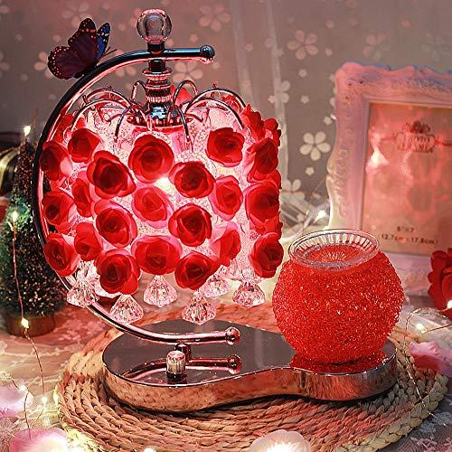 TYXWZL Aromatherapy Table Lamp Bedroom Bedside Lamp Rose Red Wedding Wedding Room Warm Plug Creative European - Rose Acryl Red
