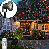 GESIMEI Outdoor Waterproof Firefly Meteor Shower Flood Lights Red and Green Decorative Garden Patio House Wall Projector Lamp