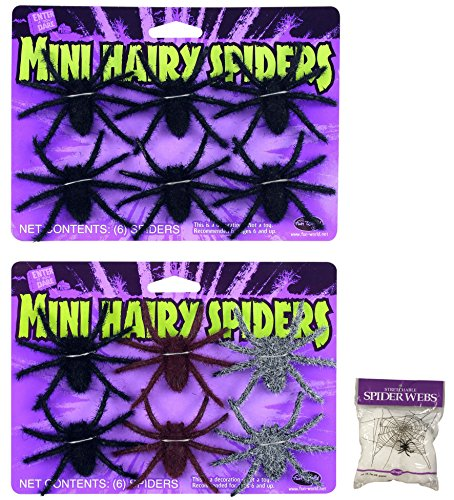 Potomac Banks Bundle: 12 count Mini Hairy Spiders Assorted Colors and FREE Pack of Spider Web (Comes with Free How to Live Stress Free Ebook) -