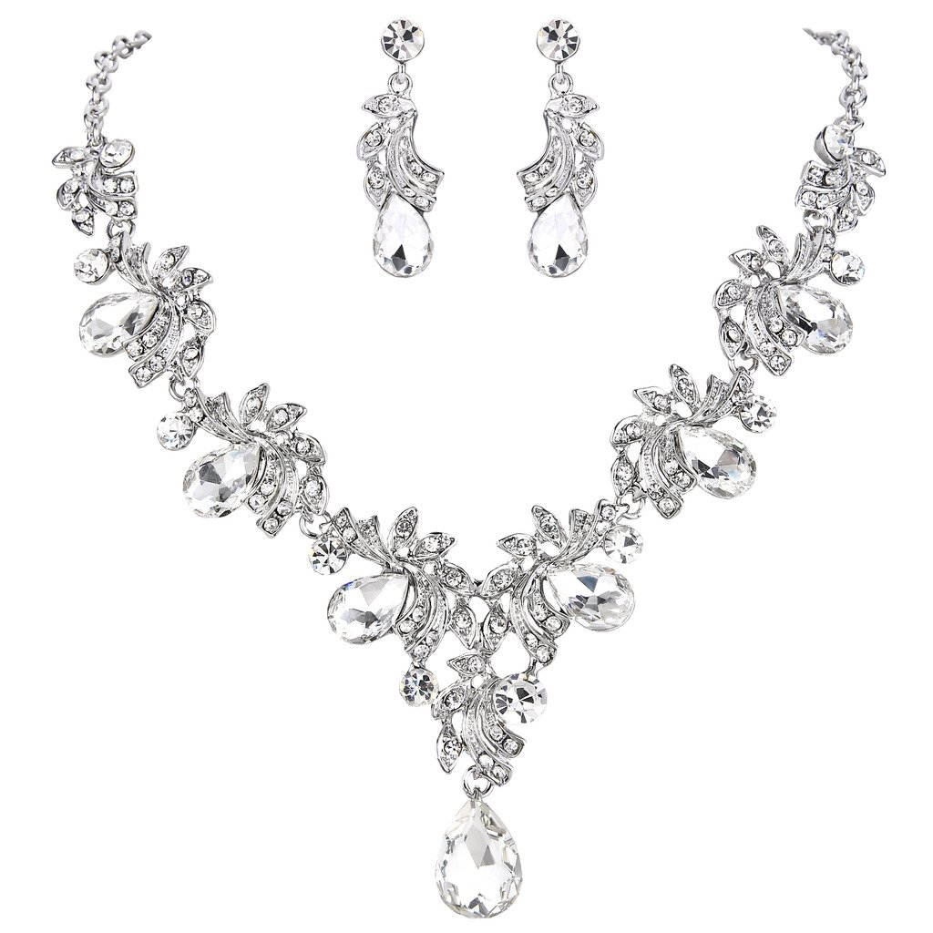 BriLove Women's Wedding Bridal Statement Necklace Dangle Earrings Jewelry Set with Crystal Teardrop Filigree Leaf Twig Clear Silver-Tone