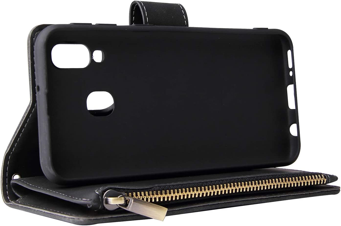 HUDDU Kompatibel mit Samsung Galaxy A40 H/ülle Leder Wallet Schutzh/ülle 6 Kartenf/ächer Handyh/ülle Silikon Rei/ßverschluss Brieftasche Filp Tasche PU Case St/änder Lederh/ülle Matte Band Wristlet Rotwein