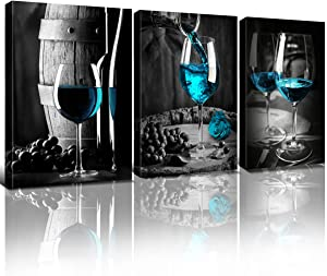 Teal Wine Decor for Kitchen Pictures Living Room Wall Art Blue Goblet Decorations Black and White Cask Barrel Bar Painting 7x10
