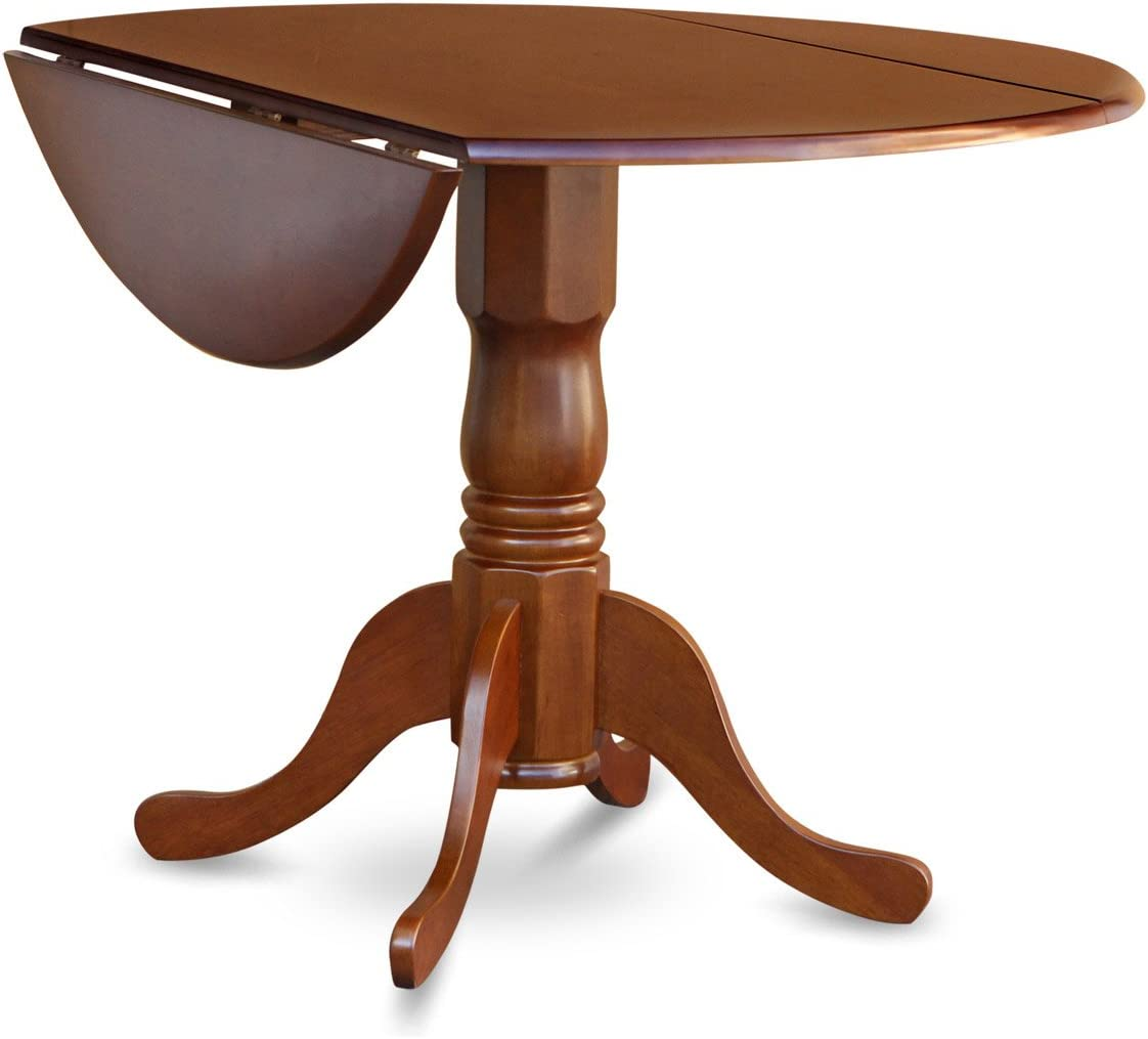 Dublin Round Table with two 9 Drop Leaves in Saddle Brown Finish