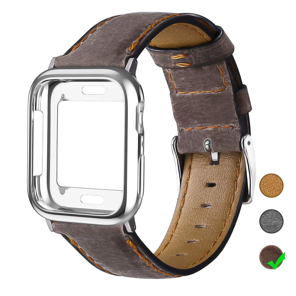 OULUOQI Leather Bands Compatible with Apple Watch 42mm 44mm with Soft Protective Case, Classic Business Genuine Leather Bands for iWatch Strap Series 4/3/2/1 by OULUOQI