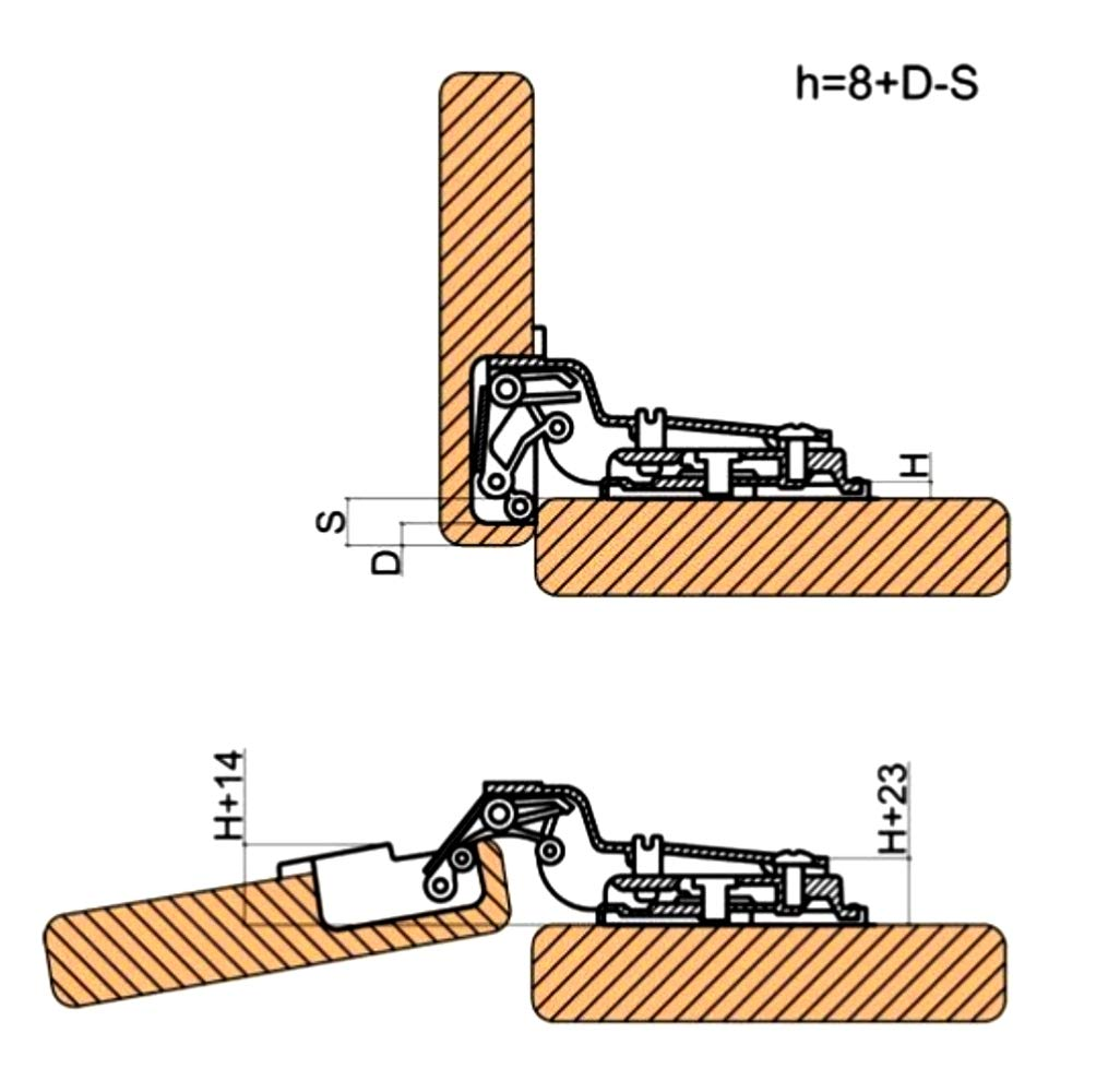 AERZETIX 4 charni/ères Invisibles 110/° pour Porte de Meuble en Semi Applique Demi recouvrement C41038