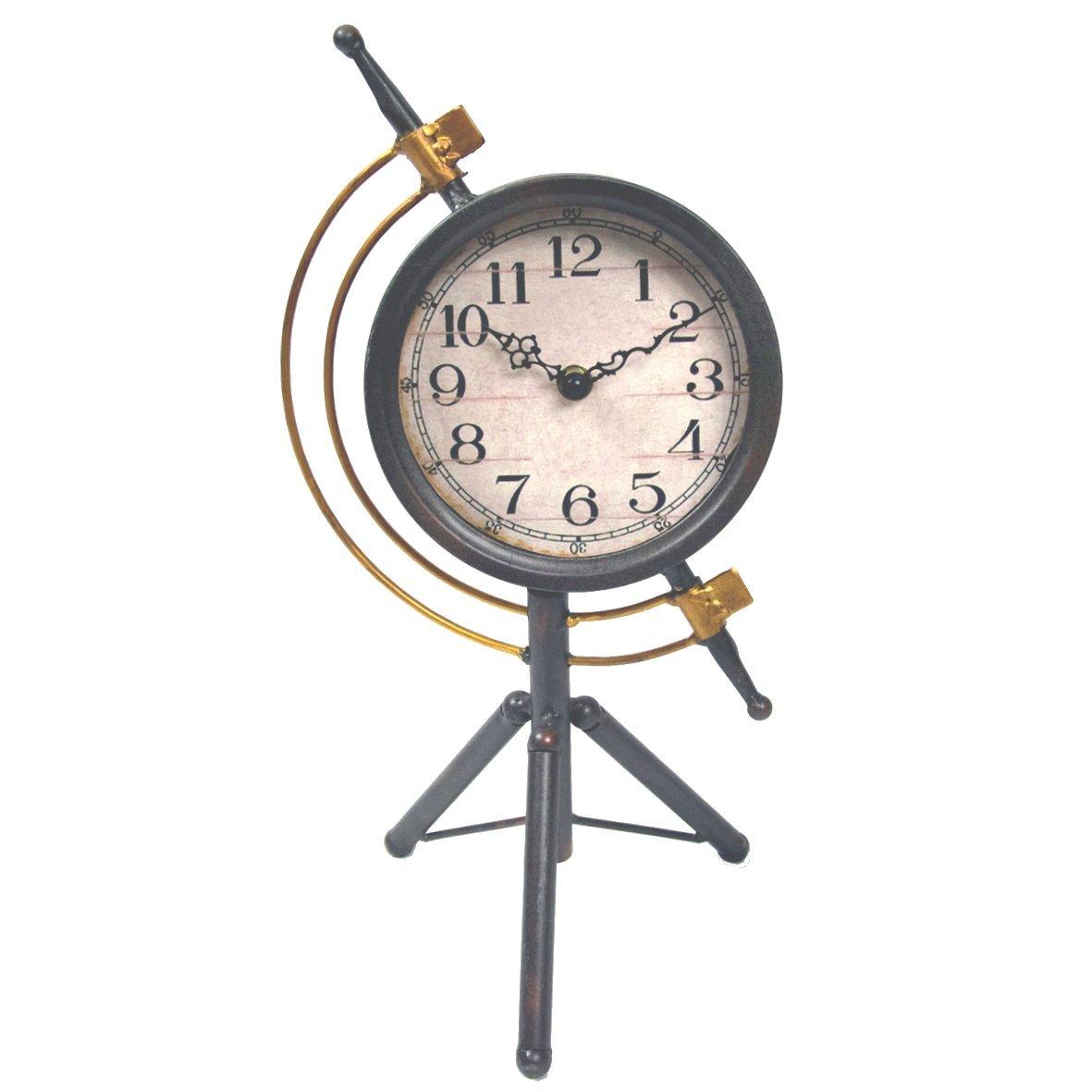 Brown & Ginger Grey/Gold Industrial Armillary Style Mantel Clock - 20cm W x 38cm H x 15cm D