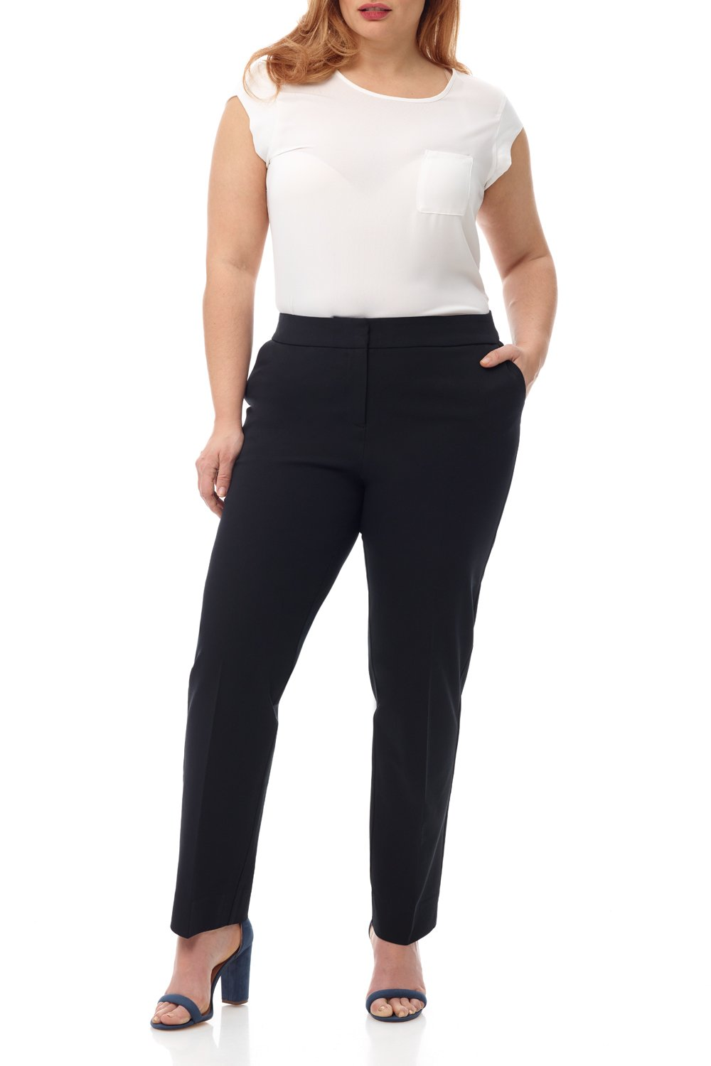 Rekucci Curvy Woman Plus Size Easy Chic Zip Front Pant in Ultimate 360 Degree Stretch Cotton (14W,Black)