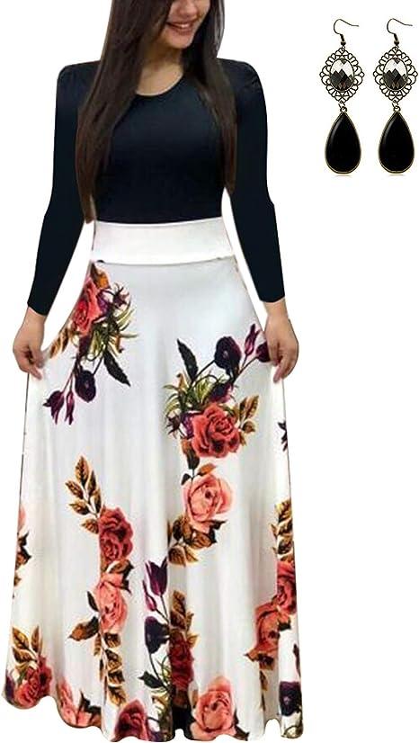 Ultimo Asser Nuova Zelanda  UUAISSO Donna Vestiti Eleganti Lunghi Floreale Casuale Abito Maxi Manica  Lunga Abiti Vestito da Cocktail Banchetto Sera: Amazon.it: Abbigliamento