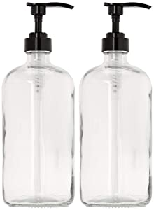 32-Ounce Large Clear Glass Boston Round Bottles w/Black Pumps. Great for Lotions, Laundry Soap Detergent, Oils, Sauces - Food Safe and Medical Grade - by kitchentoolz (Pack of 2)